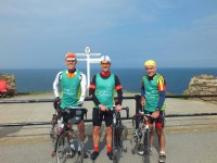 Roy,mike and Arthur riding Lands end to John O' Groats for Dogs for the Disabled.